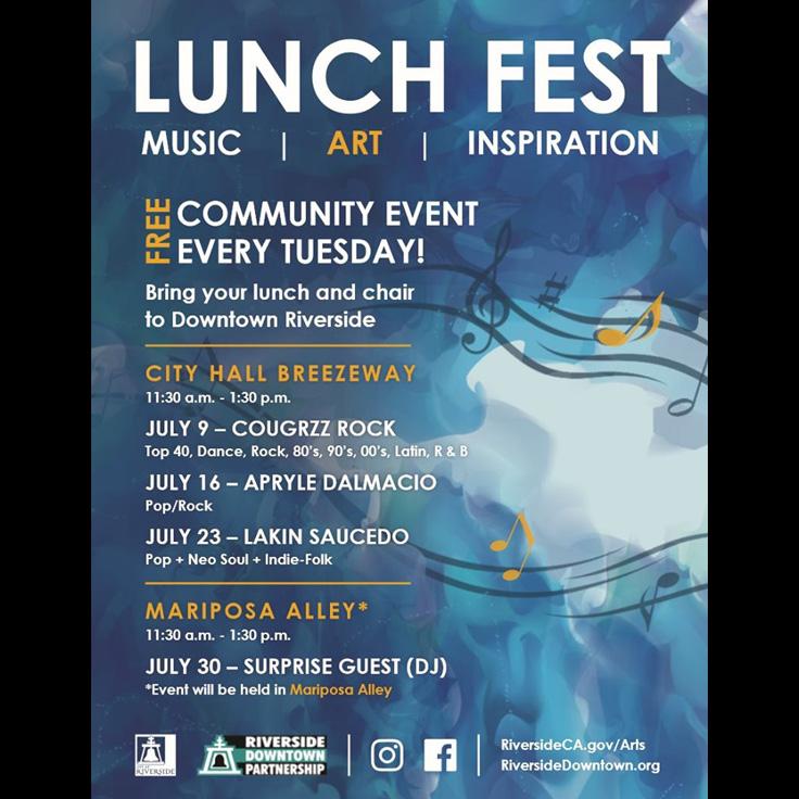 Lunch Fest featuring Lakin Saucedo (Riverside/Long Beach, pop neosoul)